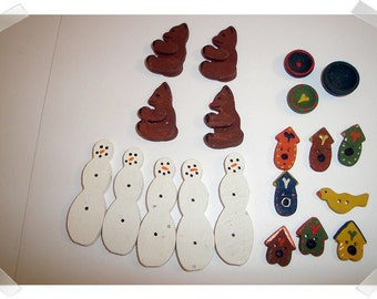 Hand painted Wooden Pieces/ Assorted Lot/Craft Supplies*