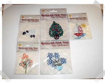 Paper Quilled Embellishments/Assorted Lot of 5/Never Used*/Craft Supplies*