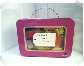 Scrapbooking Supplies/Small Metal Case/Cardboard Puzzle Pieces/ Craft Supplies*