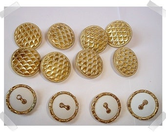 Gold tone/White Buttons/ Set of 12/ *2 styles/ Craft Supplies/ (#014)*