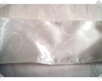 Wired Ribbon/White Satin/Glitter/3 yards/ Craft Supplies*