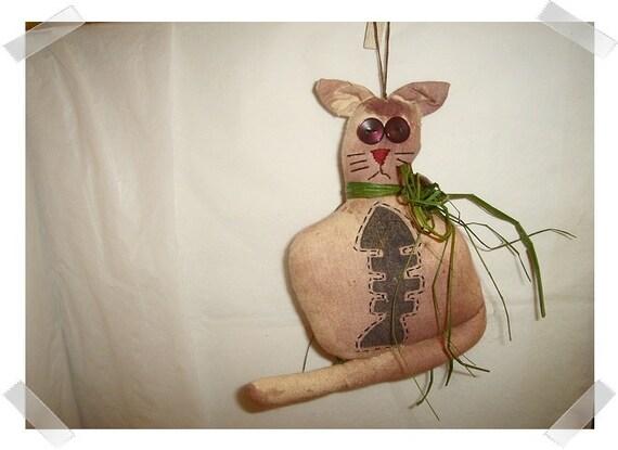 Cat Ornament/ Muslin Fabric/ Whimsical/Handmade**