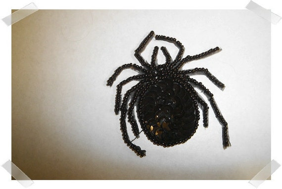 Black Sequin Spider/FREE SHIPPING/RESERVED for Lisa Curl