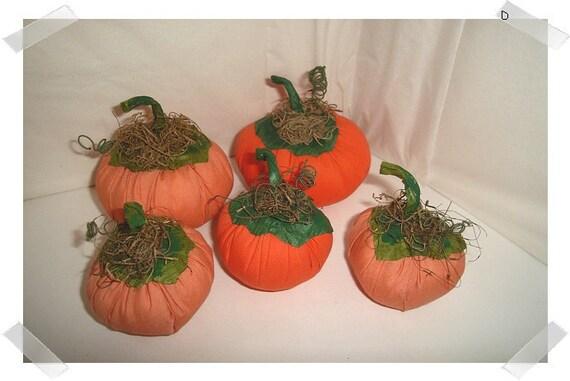Fabric Pumpkins/Set of 5/Handmade*
