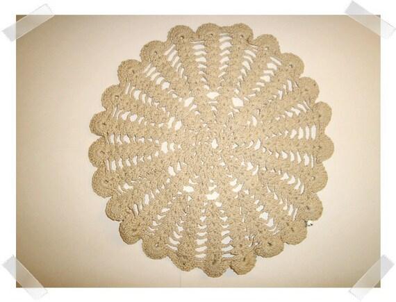 """Round Beige Cotton Doily/ over 8"""" wide/Craft Supply*"""