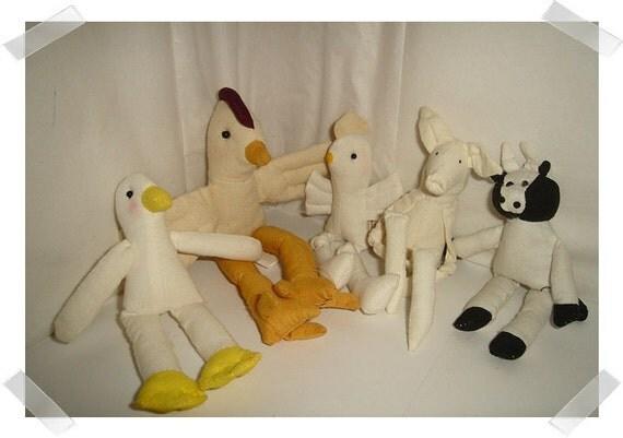 Farm Animal Fabric Dolls/5 dolls/FREE SHIPPING