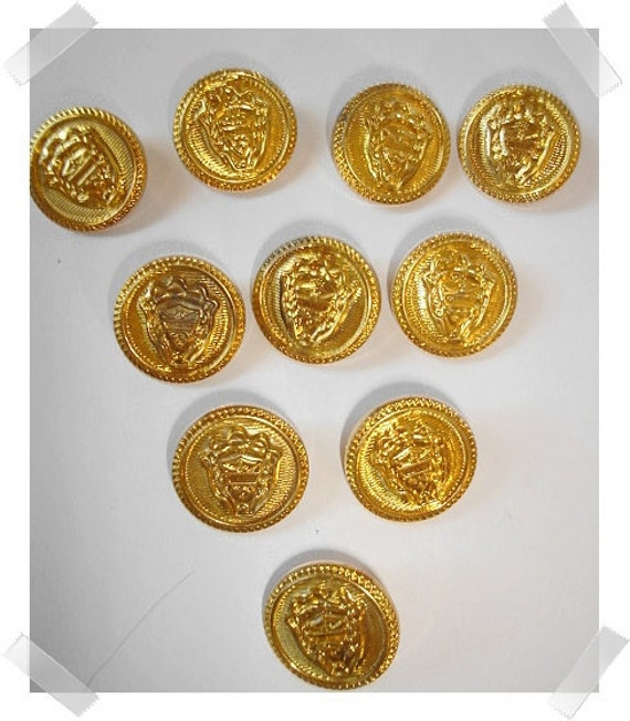 Gold tone Buttons/Set of 10/ Craft Supplies/(#016)*
