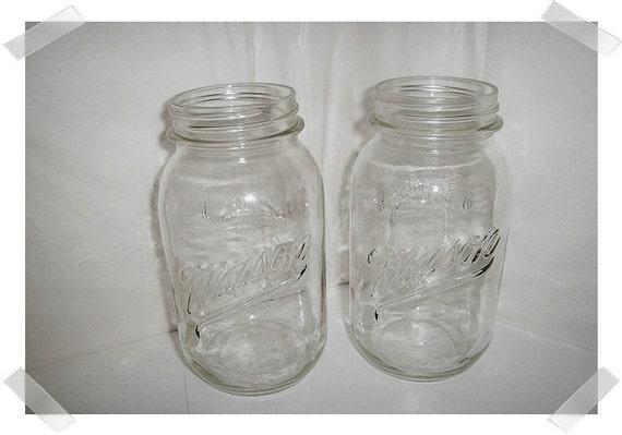 Set/2 Vintage Glass Mason Jars/no Lid