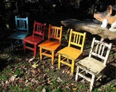 antique rainbow chairs photo Musical Chairs 8X10 art print vintage furniture colorful