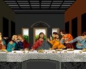 8 Bit Last Supper 8X16 digital art print
