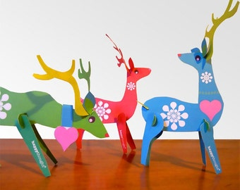 Lovely festive reindeers, printable paper ornament kit. Download instantly these DIY templates to print & make 3 reindeer - by Happythought.