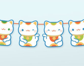 Lucky cat printable garland