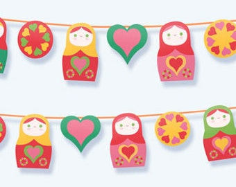 Cute Russian Doll printable paper PDF kit. Download instantly this DIY template/pattern to print & make a garland/bunting - by Happythought.