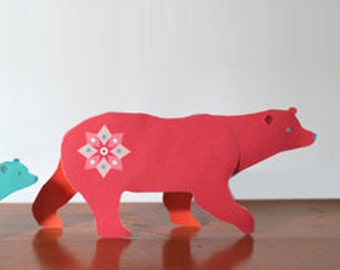 Polar Bear paper ornaments printable kit. Instant download DIY template/pattern to print & make mum and baby polar bears - by Happythought.
