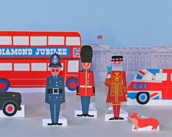 Diamond Jubilee paper figures, transport and Buckingham Palace PDF templates
