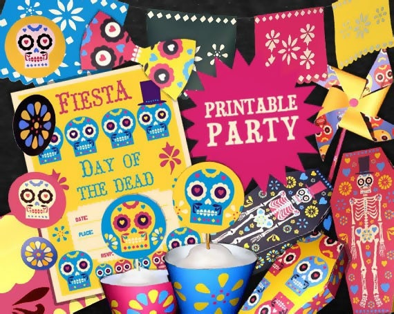 DAY OF THE DEAD Halloween party printables