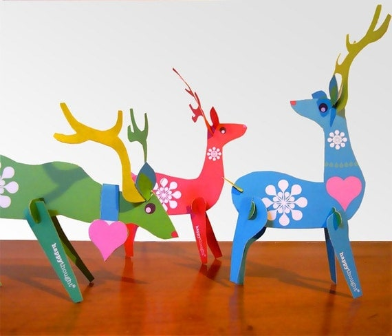 Reindeer paper ornaments PDF kit