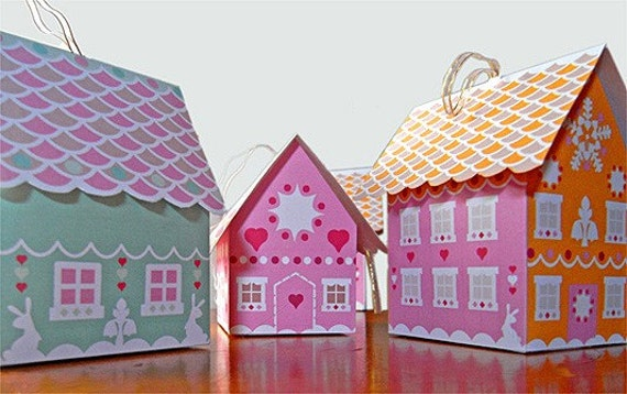 Gingerbread House mini gift boxes paper printables, instant download