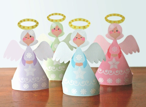 Gorgeous christmas angels printable paper ornament kit for Angel decoration template