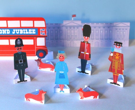 Diamond Jubilee paper figures, transport and Buckingham Palace PDF templates play set