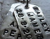 Set of 2 Rustic Custom 2 Tag Necklaces
