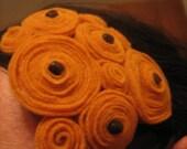 Handmade Felt Rosette Headband with Beads - Goldenrod