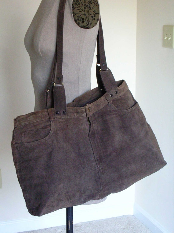 Brown suede shoulder bag upcycled from pants