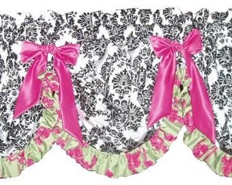 Custom Window Valance - Balloon style any of our fabrics, fits up to 36 inch window