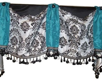 Custom Made Swag & Horn Style Valance - up to 36 window, select fabrics