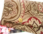 PHOTO POCKET ENVELOPE Wallet Holder in Cranberry and Brown Paisley Print