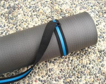 Unisex Strap a Mat YOGA MAT SLING Tote & Yoga Strap in Black Webbing w/ Turquoise Trim