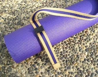1 Ready to Ship Unisex Strap a Mat YOGA MAT SLING  Tote & Yoga Strap in Tan Webbing / Deep Purple Ribbon