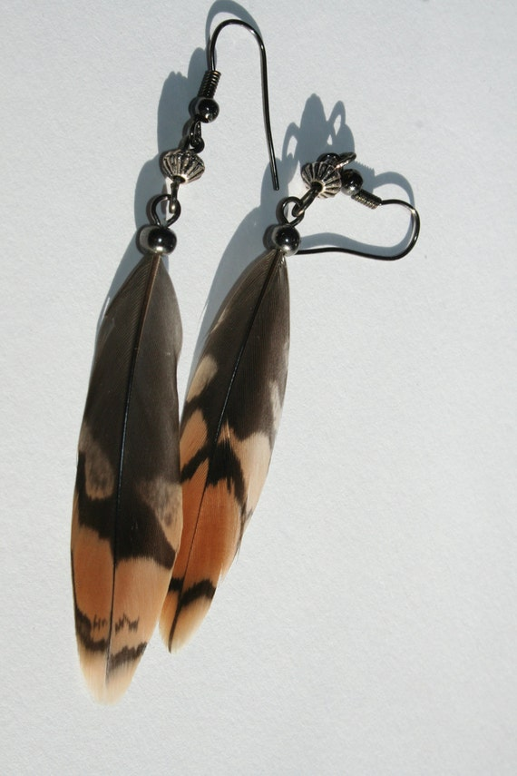 Feather earrings native american indian by minorfragment for Native american feather jewelry