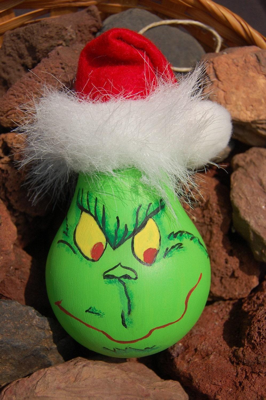 Grinch Lightbulb Ornament by SeasonGreenings on Etsy