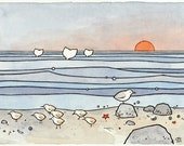 Sandpipers and Whales Original Illustration