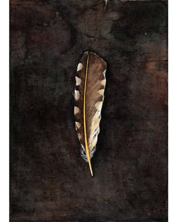 Spotted Yellow Feather Watercolor Print