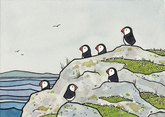 Puffins and Sea Thrift Illustration, Coastal Nursery Print 5x7