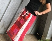 Hippie Patchwork Skirt in Red