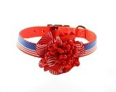 Couture Dog Collar, (Red/White/Blue), Patriotic, American Flag