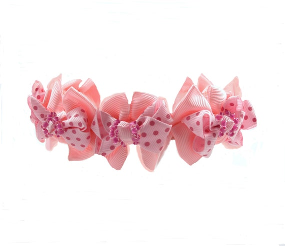 Couture Dog Collar, Rows of Bows Collection (Pink Polka Dot Bows with Pink Beads)