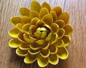 Pistachio Shell Flower Brooch --- Yellow