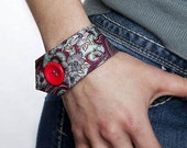 Tie Bracelet --- Red and Turquoise Paisley