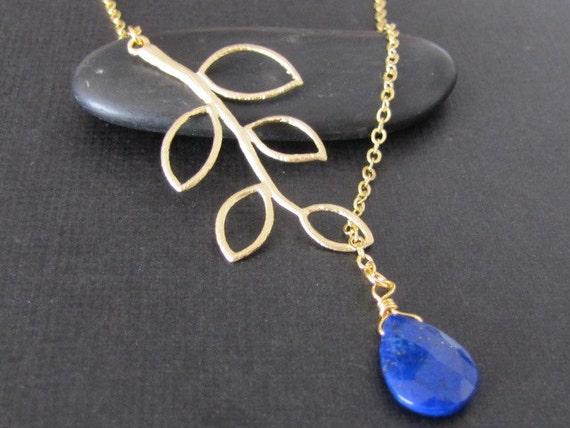 Branch necklace , branch lariat , lapis lazuli lariat in gold (N142) , lapis lazuli necklace