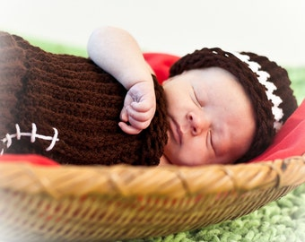 Newborn Football Cocoon Set  Newborn Photo Prop Used In Professional Photography of Newborn, Infant Portrait Sessions