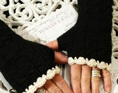 Fingerless Mittens - On The Town Cables n' Cream - Black by Magentaskystudio on Etsy