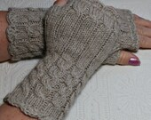 Fingerless Mittens -Light Cocoa Tan -  Cozy Wristwarmers by Magentaskystudio on Etsy
