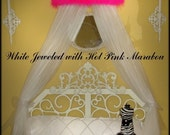 SALE Jeweled Canopy Bed Crown in White with Hot Pink Marabou and Rhinestones SALE