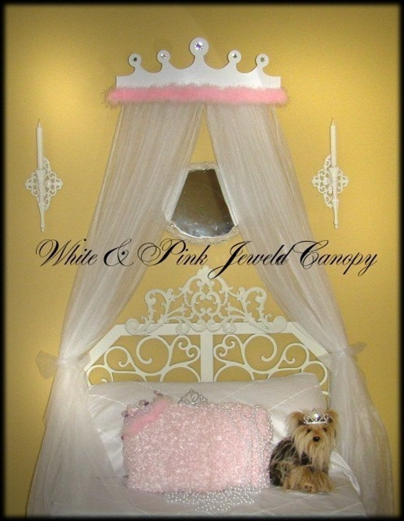 Crown Bed Canopy PRINCESS Jeweled Rhinestone White and Pink  with Marabou