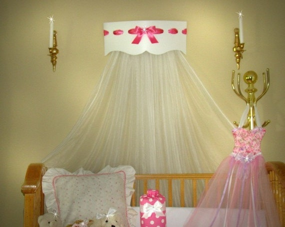 Bed Canopy Bedroom Princess Scallop White Hot Pink Satin Bow Crown SALE