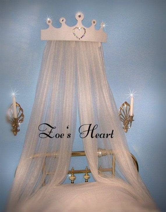 PrInCeSs Crown Tiara Jewel RhineStone HEART BeD Canopy  and SheeRs Curtains